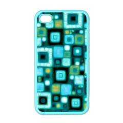 Teal Squares Apple Iphone 4 Case (color) by KirstenStar