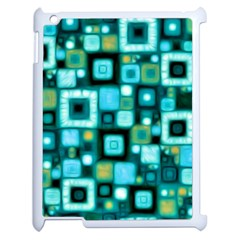 Teal Squares Apple Ipad 2 Case (white) by KirstenStar