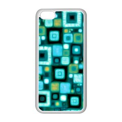 Teal Squares Apple Iphone 5c Seamless Case (white) by KirstenStar