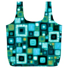 Teal Squares Full Print Recycle Bags (l)  by KirstenStar