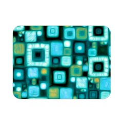 Teal Squares Double Sided Flano Blanket (mini)  by KirstenStar