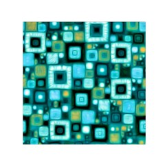 Teal Squares Small Satin Scarf (square)  by KirstenStar