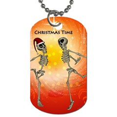 Dancing For Christmas, Funny Skeletons Dog Tag (two Sides) by FantasyWorld7