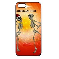 Dancing For Christmas, Funny Skeletons Apple Iphone 5 Seamless Case (black) by FantasyWorld7