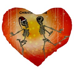 Dancing For Christmas, Funny Skeletons Large 19  Premium Heart Shape Cushions