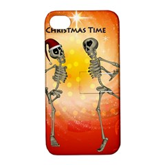 Dancing For Christmas, Funny Skeletons Apple Iphone 4/4s Hardshell Case With Stand by FantasyWorld7