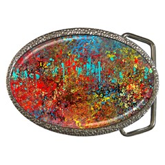 Abstract In Red, Turquoise, And Yellow Belt Buckles by digitaldivadesigns