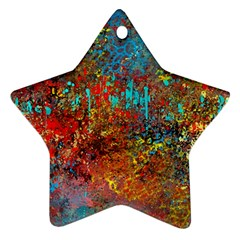 Abstract In Red, Turquoise, And Yellow Star Ornament (two Sides)  by digitaldivadesigns
