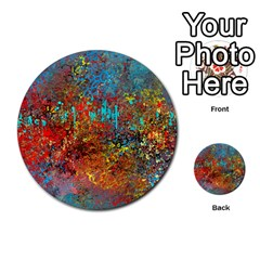 Abstract In Red, Turquoise, And Yellow Multi Purpose Cards (round)  by digitaldivadesigns
