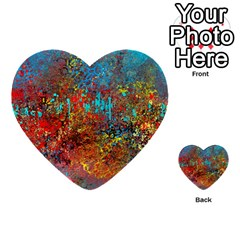 Abstract In Red, Turquoise, And Yellow Multi Purpose Cards (heart)  by digitaldivadesigns