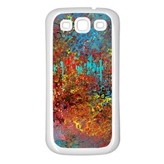 Abstract In Red, Turquoise, And Yellow Samsung Galaxy S3 Back Case (white) by digitaldivadesigns