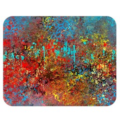 Abstract In Red, Turquoise, And Yellow Double Sided Flano Blanket (medium)  by digitaldivadesigns
