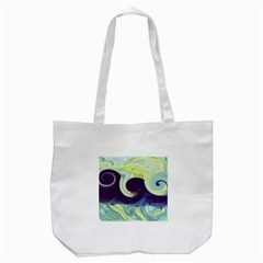 Abstract Ocean Waves Tote Bag (white)
