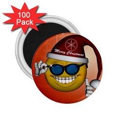 Funny Christmas Smiley With Sunglasses 2 25  Magnets (100 Pack)  by FantasyWorld7