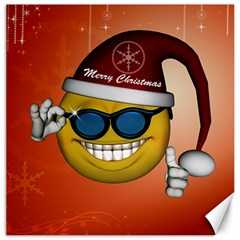 Funny Christmas Smiley With Sunglasses Canvas 20  X 20   by FantasyWorld7