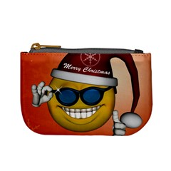 Funny Christmas Smiley With Sunglasses Mini Coin Purses by FantasyWorld7