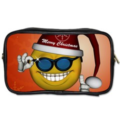 Funny Christmas Smiley With Sunglasses Toiletries Bags 2 Side by FantasyWorld7