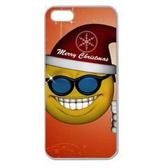 Funny Christmas Smiley With Sunglasses Apple Seamless Iphone 5 Case (clear) by FantasyWorld7