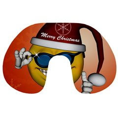 Funny Christmas Smiley With Sunglasses Travel Neck Pillows