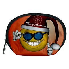 Funny Christmas Smiley With Sunglasses Accessory Pouches (medium)  by FantasyWorld7