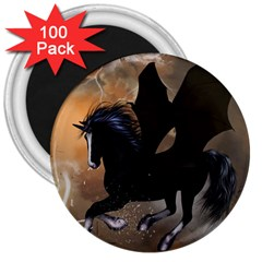Awesome Dark Unicorn With Clouds 3  Magnets (100 Pack) by FantasyWorld7