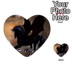 Awesome Dark Unicorn With Clouds Multi Purpose Cards (heart)  by FantasyWorld7
