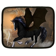 Awesome Dark Unicorn With Clouds Netbook Case (large)	 by FantasyWorld7