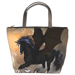Awesome Dark Unicorn With Clouds Bucket Bags by FantasyWorld7