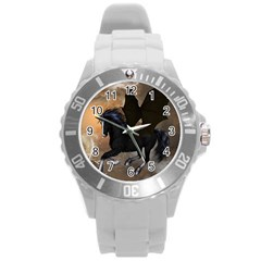 Awesome Dark Unicorn With Clouds Round Plastic Sport Watch (l) by FantasyWorld7