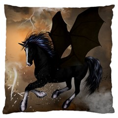 Awesome Dark Unicorn With Clouds Large Cushion Cases (one Side)