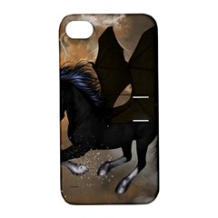 Awesome Dark Unicorn With Clouds Apple Iphone 4/4s Hardshell Case With Stand by FantasyWorld7
