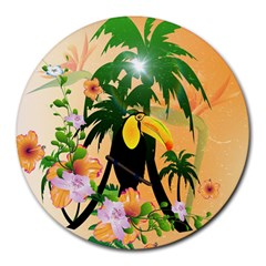 Cute Toucan With Palm And Flowers Round Mousepads by FantasyWorld7