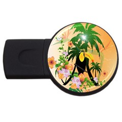 Cute Toucan With Palm And Flowers Usb Flash Drive Round (2 Gb)  by FantasyWorld7