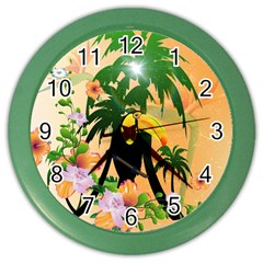 Cute Toucan With Palm And Flowers Color Wall Clocks by FantasyWorld7