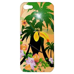 Cute Toucan With Palm And Flowers Apple Iphone 5 Hardshell Case by FantasyWorld7