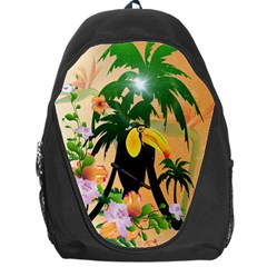 Cute Toucan With Palm And Flowers Backpack Bag by FantasyWorld7