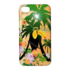 Cute Toucan With Palm And Flowers Apple Iphone 4/4s Hardshell Case With Stand by FantasyWorld7