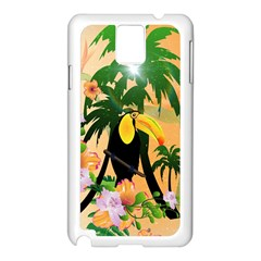 Cute Toucan With Palm And Flowers Samsung Galaxy Note 3 N9005 Case (white) by FantasyWorld7