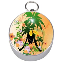 Cute Toucan With Palm And Flowers Silver Compasses by FantasyWorld7