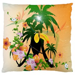 Cute Toucan With Palm And Flowers Large Flano Cushion Cases (one Side)  by FantasyWorld7