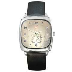 Music, Piano With Clef On Soft Background Square Metal Watches by FantasyWorld7