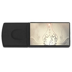 Music, Piano With Clef On Soft Background Usb Flash Drive Rectangular (4 Gb)  by FantasyWorld7