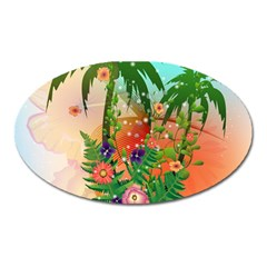 Tropical Design With Palm And Flowers Oval Magnet by FantasyWorld7