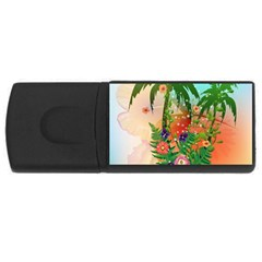 Tropical Design With Palm And Flowers Usb Flash Drive Rectangular (4 Gb)  by FantasyWorld7