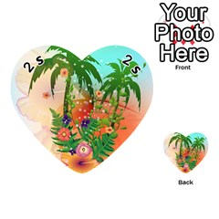 Tropical Design With Palm And Flowers Playing Cards 54 (heart)