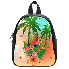 Tropical Design With Palm And Flowers School Bags (small)  by FantasyWorld7