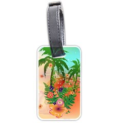 Tropical Design With Palm And Flowers Luggage Tags (two Sides) by FantasyWorld7
