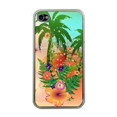 Tropical Design With Palm And Flowers Apple Iphone 4 Case (clear) by FantasyWorld7