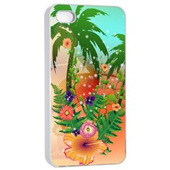 Tropical Design With Palm And Flowers Apple Iphone 4/4s Seamless Case (white)