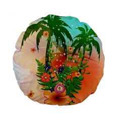Tropical Design With Palm And Flowers Standard 15  Premium Round Cushions by FantasyWorld7